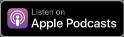Mention écoutez sur Apple podcast sur un fond noir