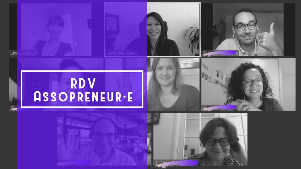 RDV Assopreneur·e, photo des participants et bande verticale violette