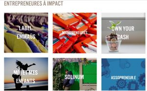 """imprim écran des stands du forum sur le festival empow'her, dans la catégorie """"entrepreneures à impact"""", on voit Assopreneur ainsi que d'autres stands. C'est très coloré !"""