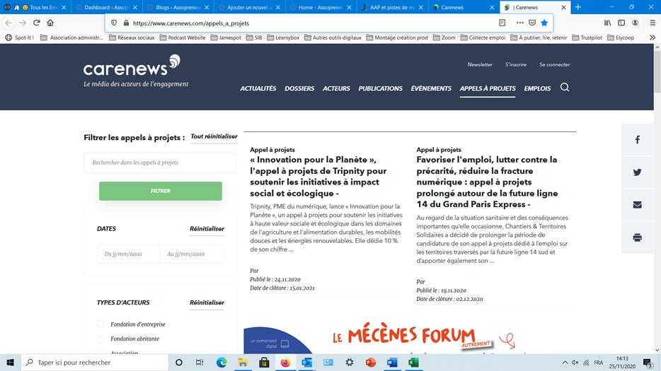 Copie écran du site de Carenews, page appels à projets.