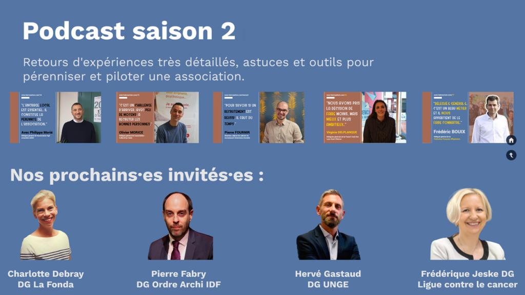 Sur fond bleu, image des épisodes déjà publiés et en dessous, photo des prochains invitésnvités