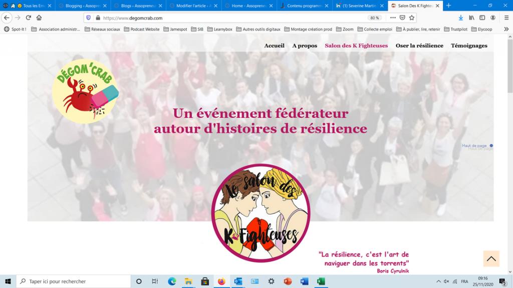 copie écran de la page d'accueil du site web de l'association Degom'crab.