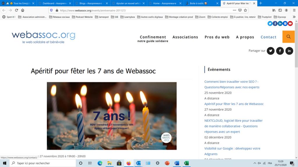 Copie ecran du site web de Webassoc avec l'article annonçant les 7 ans de l'association. La photo montre 7 bougies allumées sur un gâteau d'anniversaire.