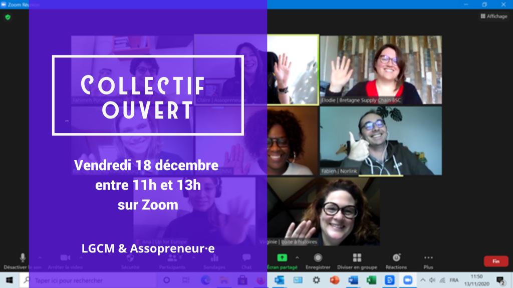 Copie écran d'un collectif des membres en visio, avec bandeau violet en transparence pour le titre, la date etc.