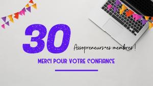 Photo d'un PC et l'inscription 30 assopreneurs membres, merci pour votre confiance en violet.