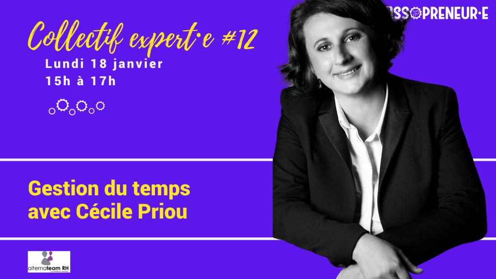 Image du collectif expert #12 avec le portrait détouré de Cécile Priou sur fond violet avec lettrage en or, texte de présentation de Cécile Priou.