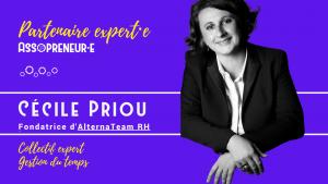 Image de notre partenaire experte avec le portrait détouré de Cécile Priou sur fond violet avec lettrage en or, texte de présentation de Cécile Priou.