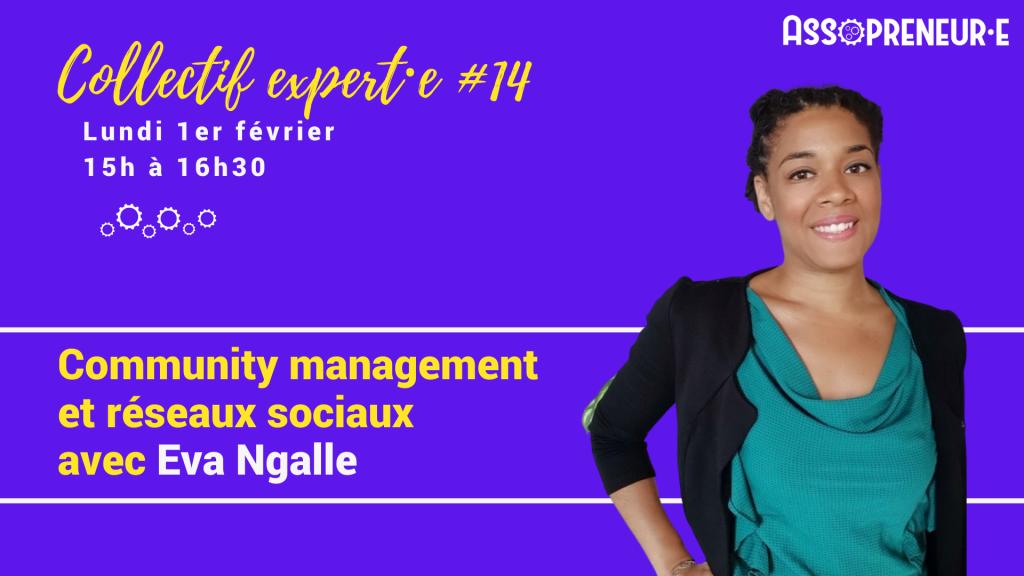 Image de notre partenaire experte avec le portrait détouré de Eva NGALLE sur fond violet avec lettrage en or, texte de présentation de Eva NGALLE.